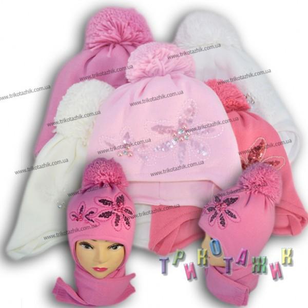 Комплект для девочки (шапка и шарфик). Модель А31 (Польша)