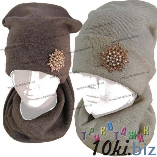 Комплект для девочки Шапка и хомут. Брошь. Ангора (Украина) - Комплекты шарф-шапка-перчатки детские для девочек на Хмельницком рынке