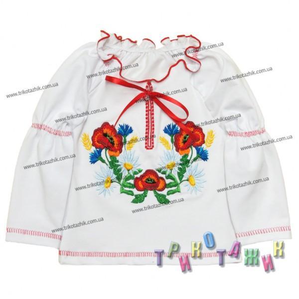Блуза Дошкольная стрейч кулир белый(дл.рукав)