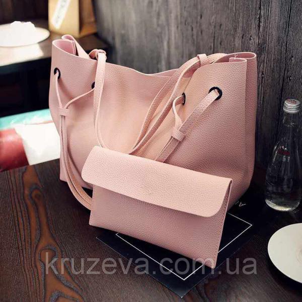 Женская сумка + кошелек Розовый