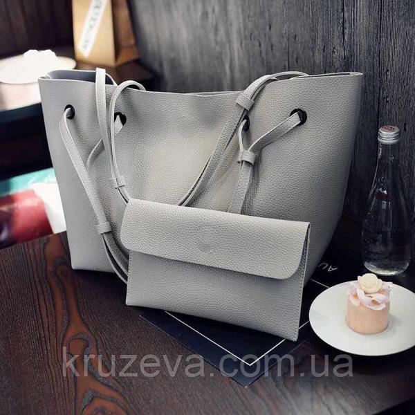 Женская сумка + кошелек Серый