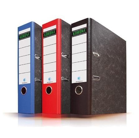 Папка регистратор КОРОНА картон-мрамор 5-8 см, цветной корешок