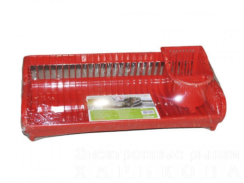"""Сушилка для посуды ТМ """"Алеана"""" пластиковая с поддоном (красная) - Сушки для посуды на рынке Барабашова"""