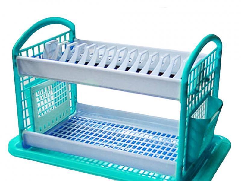 """Сушилка для посуды ТМ """"Консенсус"""" 2-уровневая пластиковая (бело-бирюзовая)"""