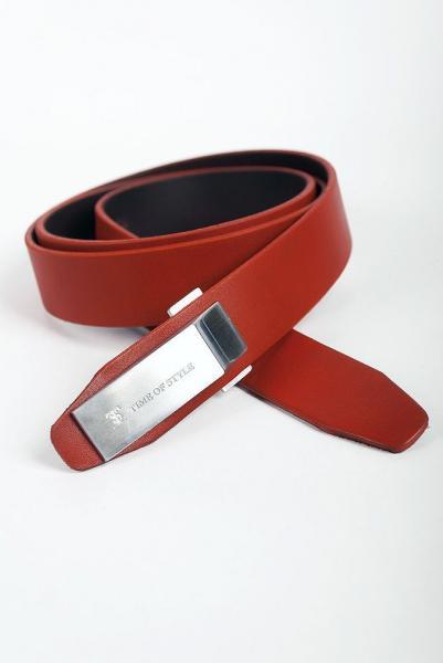 Ремень кожаный узкий 03005 (Терракотовый)