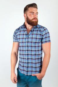 Фото  Рубашка в крупную клетку №36F008 (Серо-голубой)
