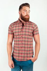 Фото  Рубашка клетчатая красная №36F009 (Бежево-красный)