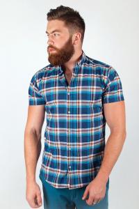 Фото  Рубашка клетчатая синяя №36F010 (Сине-голубой)