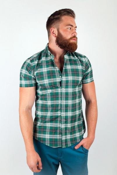 Рубашка приталенная в клетку №36F011 (Зеленый)
