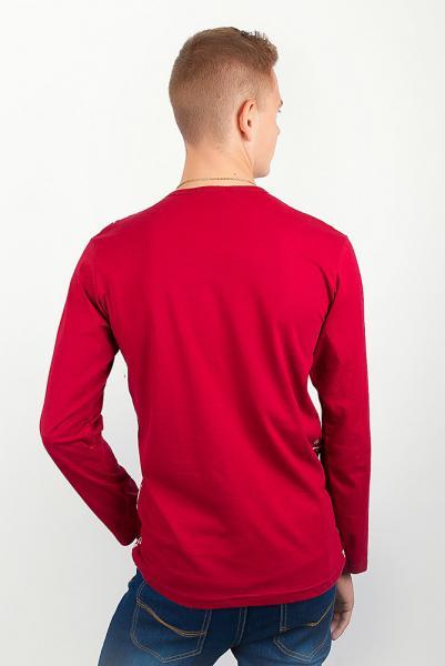 Хлопковый осенний батник, тонкий свитер №209G004 (Бордо)