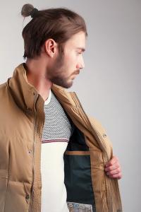 Фото  Куртка (пуховик) мужская, зимняя №225KF054 (Песочный)