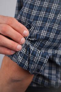 Фото  Рубашка клетчатая зимняя, мужская№208F014 (Серо-молочный)