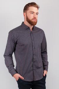 Фото  Рубашка клетчатая темная, мужская №208F013 (Коричневый)
