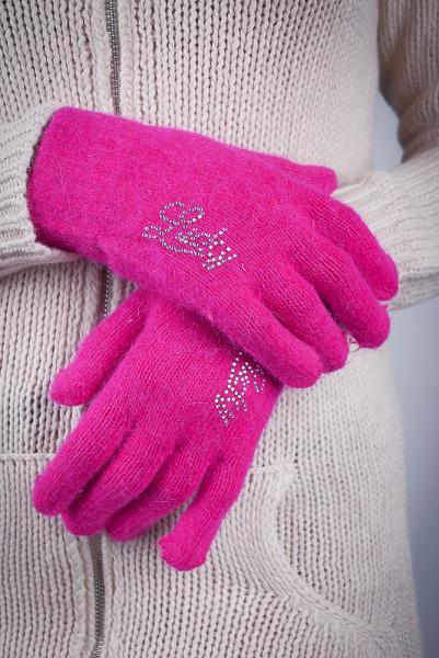 Перчатки женские теплые №17P004 (Ярко-розовый)