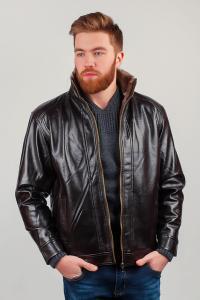 Фото  Куртка мужская, экокожа 20K002 (Темно-коричневый)
