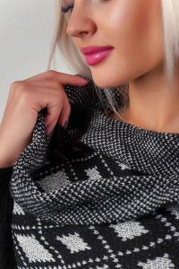 Фото  Кофта женская, накидка вязаная №257G002 (Черно-белый)