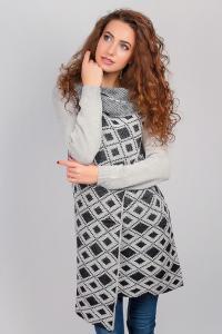 Фото  Кофта женская, накидка вязаная №257G002 (Светло-серо-черный)