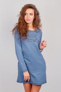 Фото  Платье женское зимнее, выше колена (флис) №262G003 (Джинс)