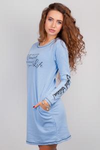 Фото  Платье женское зимнее, выше колена (флис) №262G003 (Голубой)