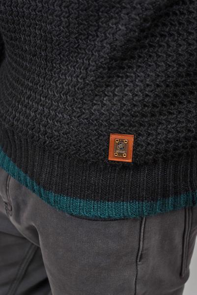 Свитер, джемпер мужской вязаный №259F013 (Изумрудно-черный)
