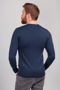 Фото  Батник мужской, свитер трикотажный тонкий №267F004 (Темно-синий)