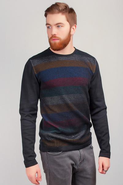 Батник мужской, свитер трикотажный тонкий №267F004 (Черный)