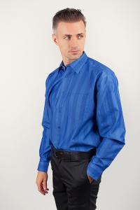 Фото  Рубашка  в полоску с длинным рукавом, синяя Fra №1039-1 (Синий)