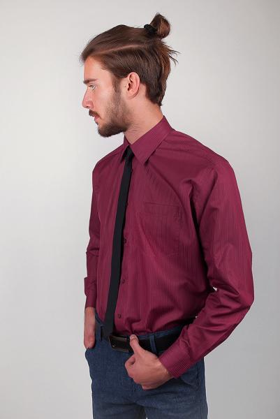 Рубашка бордовая (марсала) в полоску Fra №869-37 (Бордо)