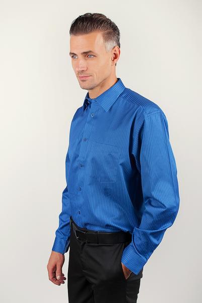 Рубашка атласная классическая, синяя Fra №878-28 (Синий)