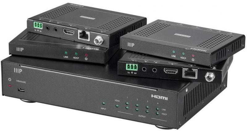 Monoprice Blackbird 4K HDBaseT Комплект спліттер-подовжувач  1x4 на 60м з PoC, EDID, IR, RS232