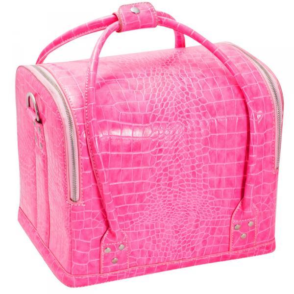 Сумка-чемодан розовая Crocodile