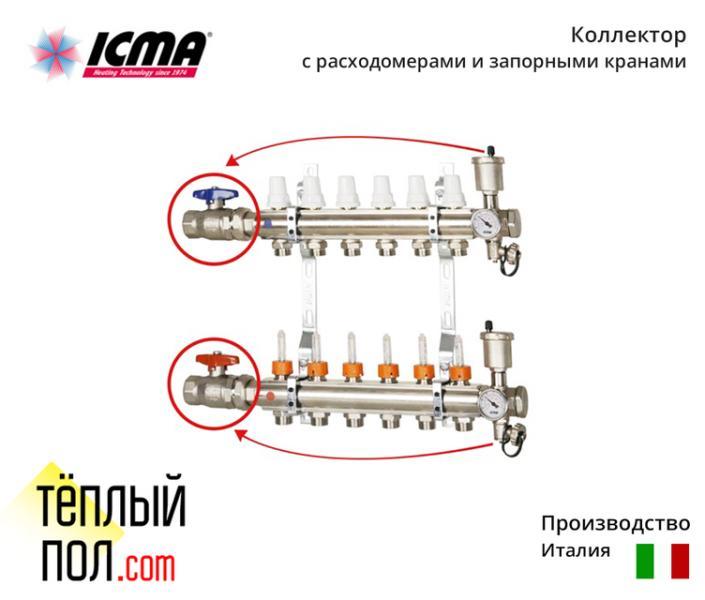 Коллект. с запорн.кранами для отопления марки ICMA (производво:Италия) на 2 контура в сборе