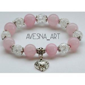 Фото Изделия из натуральных камней Браслет из розового и сахарного кварца