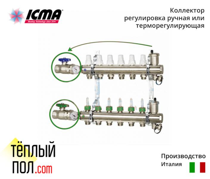 Коллект. с расходомерами ручн.регул.или терморегул. марки ICMA (производво:Италия)на 5 контуров в сб