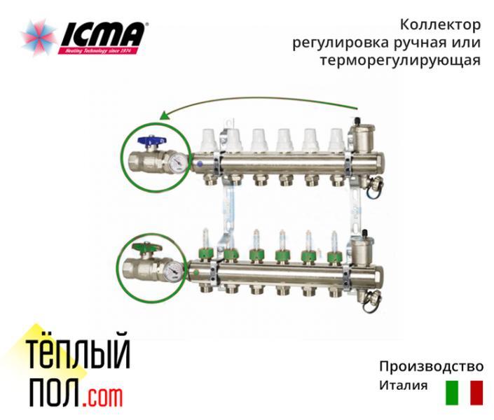 Коллект. с расходомерами ручн.регул.или терморегул. марки ICMA (производво:Италия) на 9 контуров в сборе