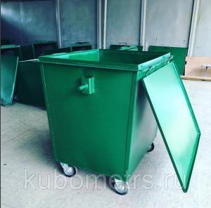Фото  Металлический контейнер для мусора с крышкой и колесами 0,75 м3