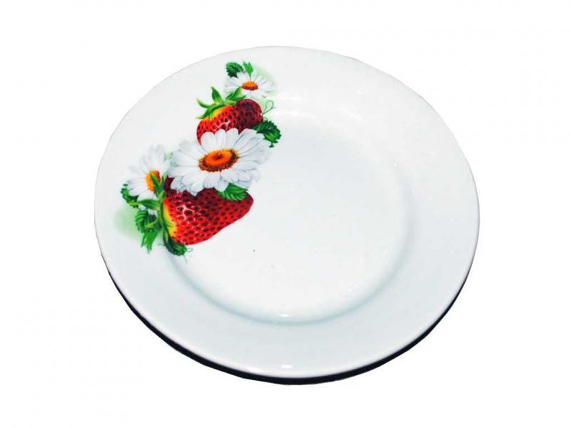 """Тарелка керамическая мелкая диаметр 17,5 см """"Клубничная поляна"""""""