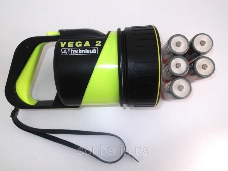 Фонарь для дайвинга Technisub Vega 2 (AquaLung Vega 2) элемент питания - батарейки