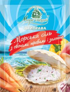 Фото Приправы и специи Морская соль с овощами, травами и зеленью, 70 г.