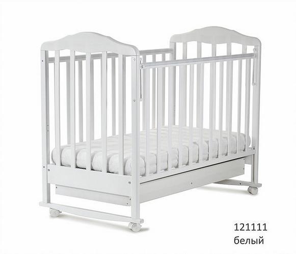 Кроватка классическая СКВ Березка-12111 с ящиком (цвет в ассортименте)