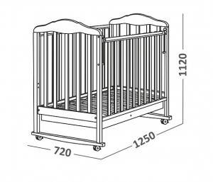 Фото Кроватки, Кроватки классические Кроватка классическая СКВ Березка-12111 с ящиком (цвет в ассортименте)