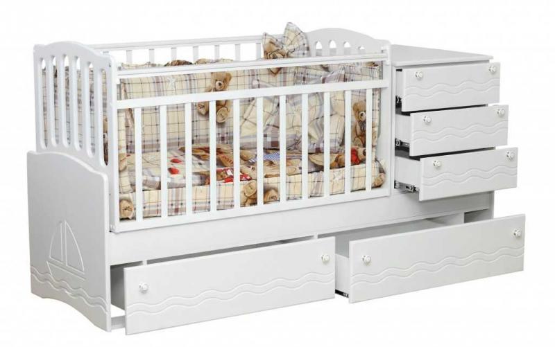 Кроватка-трансформер Укачай-ка Белая