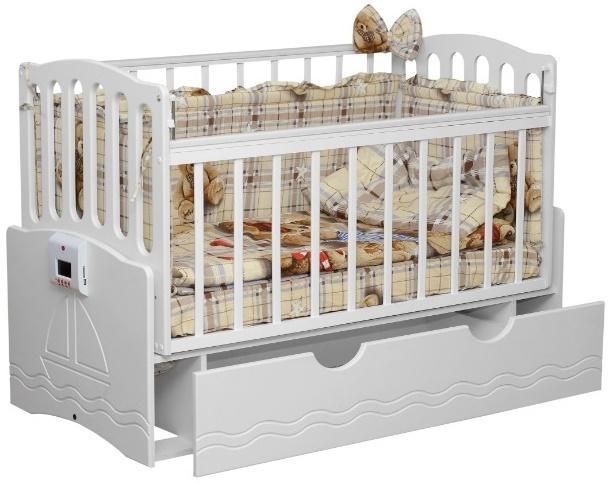 Автоматическая кроватка с механизмом укачивания и MP3-плеером Укачай-ка Белая