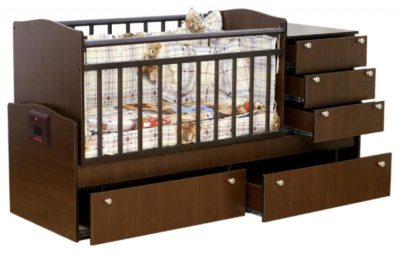 Автоматическая кроватка-трансформер с механизмом укачивания и MP3-плеером Укачай-ка Венге