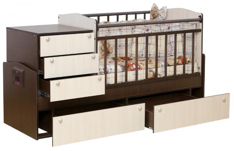 Автоматическая кроватка-трансформер с механизмом укачивания и MP3-плеером Укачай-ка Комби
