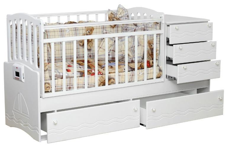Автоматическая кроватка-трансформер с механизмом укачивания и MP3-плеером Укачай-ка Белая