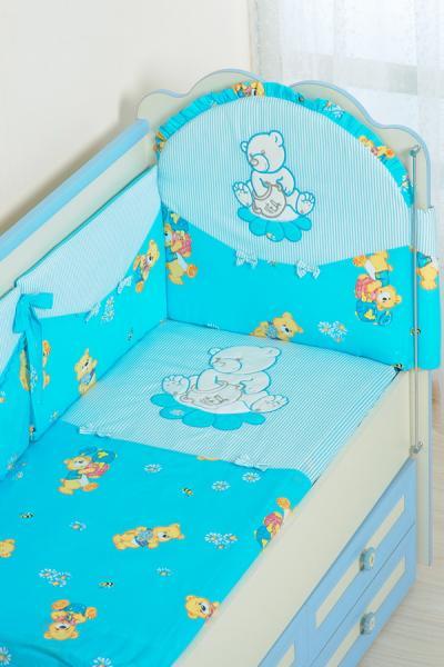 Комплект в кроватку (7 предметов) №25.4 голубой