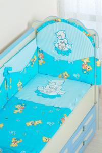 Фото Постельное белье Комплект в кроватку (7 предметов) №25.4 голубой