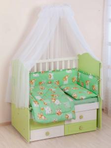Фото Постельное белье Комплект в кроватку     (7 предметов) №25 салатовый