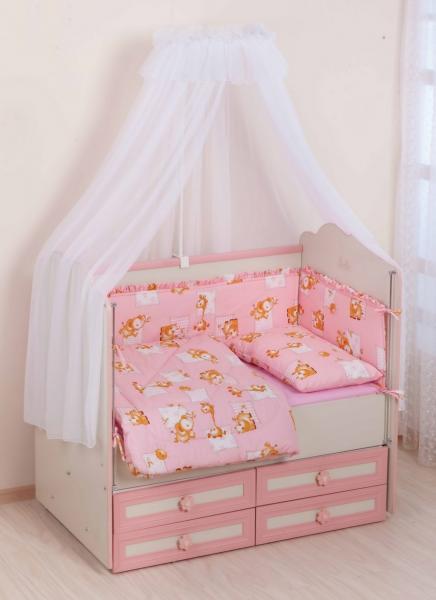 Комплект в кроватку     (7 предметов) №25 розовый
